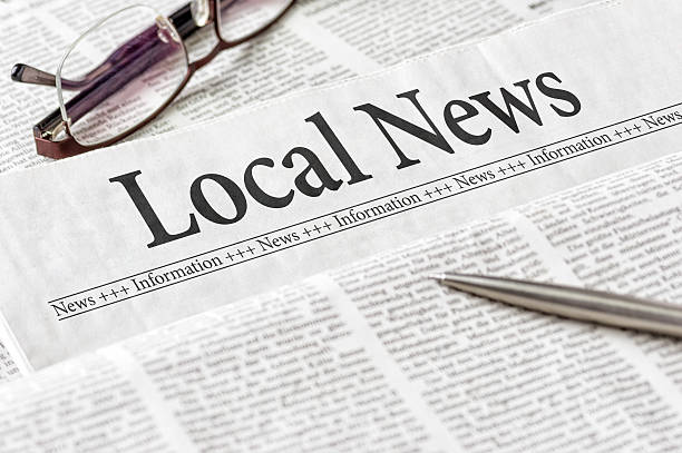 Newspaper with the headline Local News A newspaper with the headline Local News front page stock pictures, royalty-free photos & images