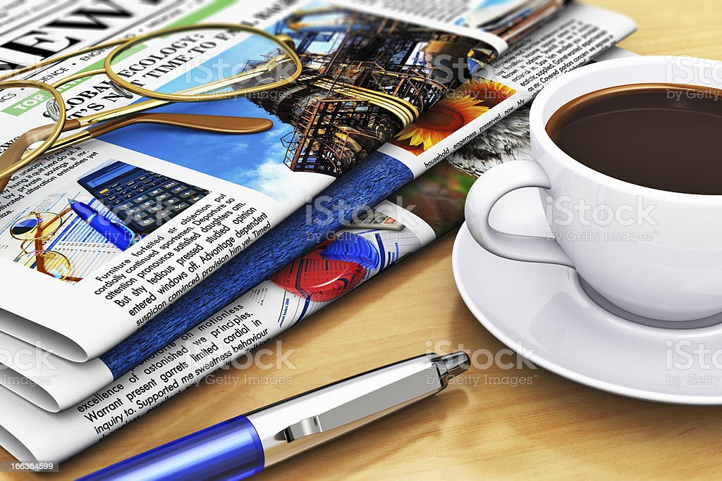 Newspapers and coffee on office table royalty-free stock photo