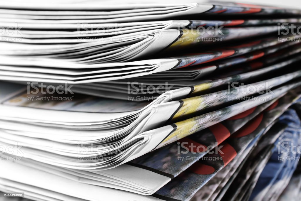Newspapers Heap stock photo