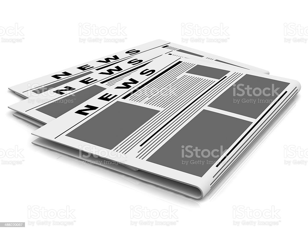 Newspapers isolated on white. royalty-free stock photo
