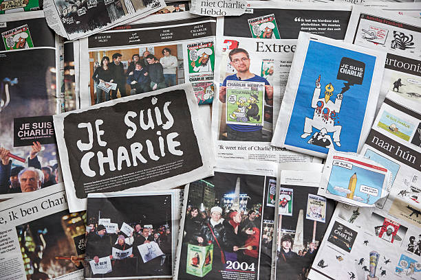 Newspapers of the attack on Charlie Hebdo # 2 stock photo
