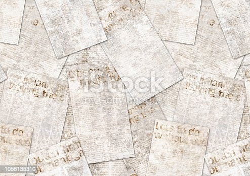 istock Newspapers old vintage grunge collage textured background 1058135310