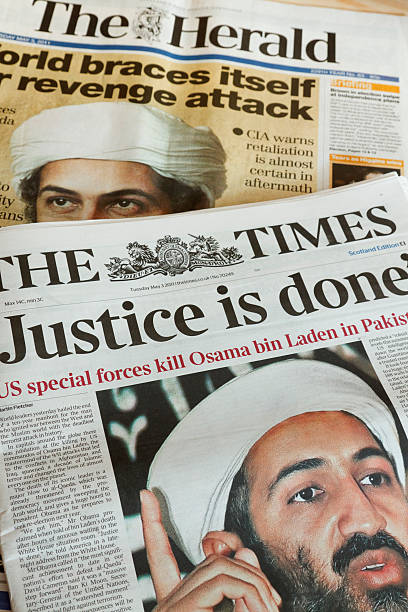Newspapers report the death of Osama bin Laden. stock photo