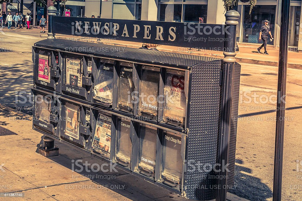 US Newspapers stand in Chicago, Illinois stock photo