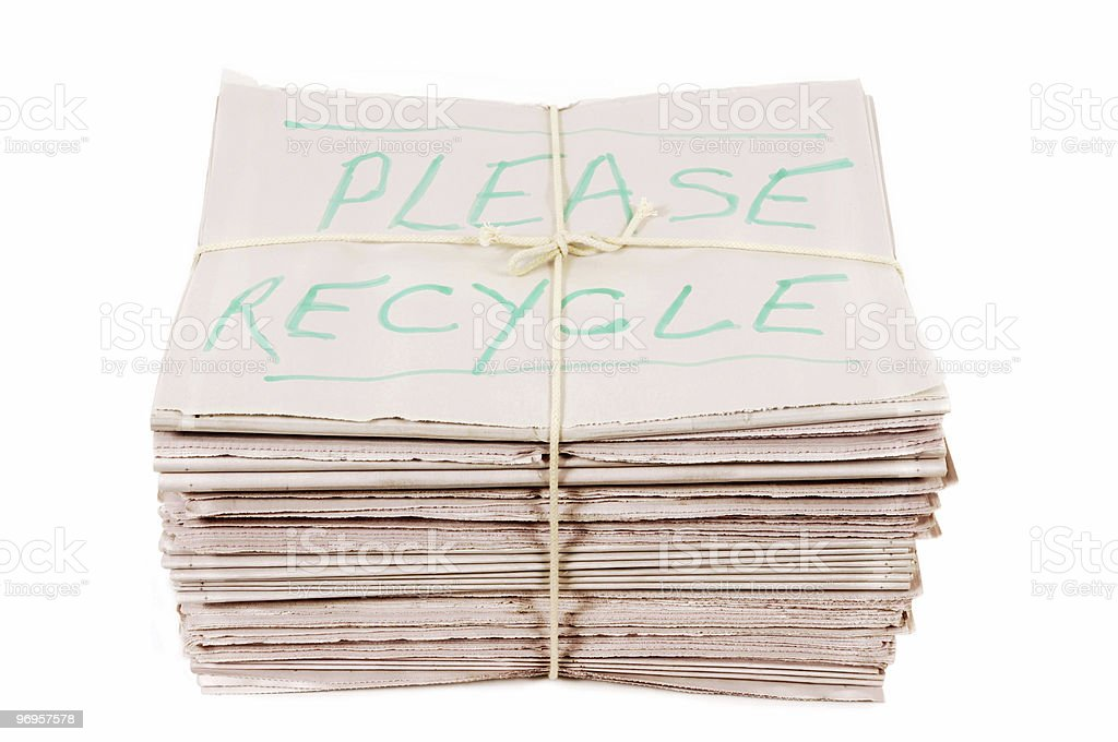 Newspapers with recycle notice royalty-free stock photo