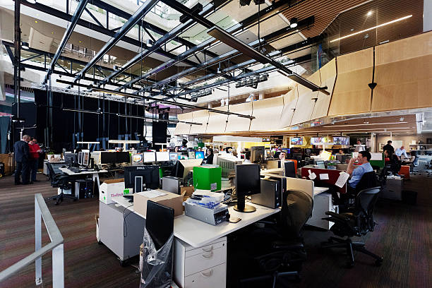 tv newsroom - channel 7 sydney - press conference stock photos and pictures