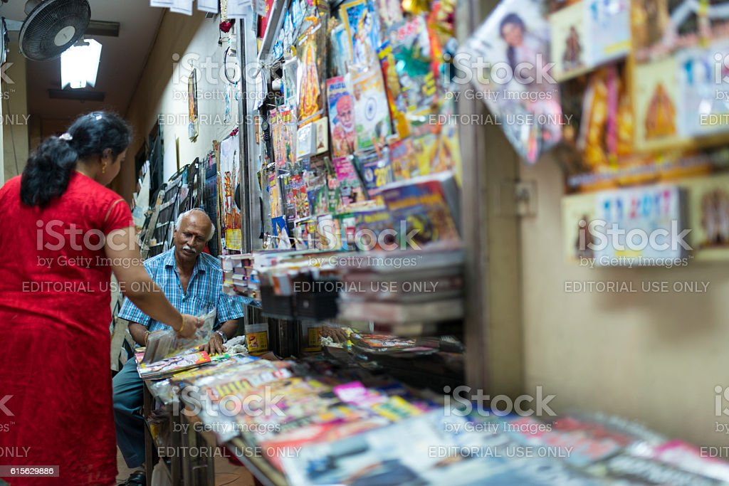 Newsstand at Little India, Singapore stock photo