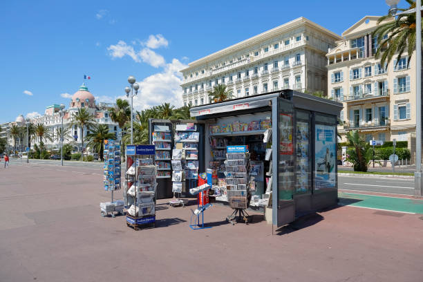 Newsstand at the Promenade des Anglais in city of Nice