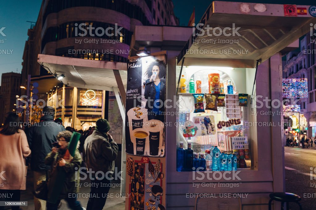 newsstand in the busy city stock photo