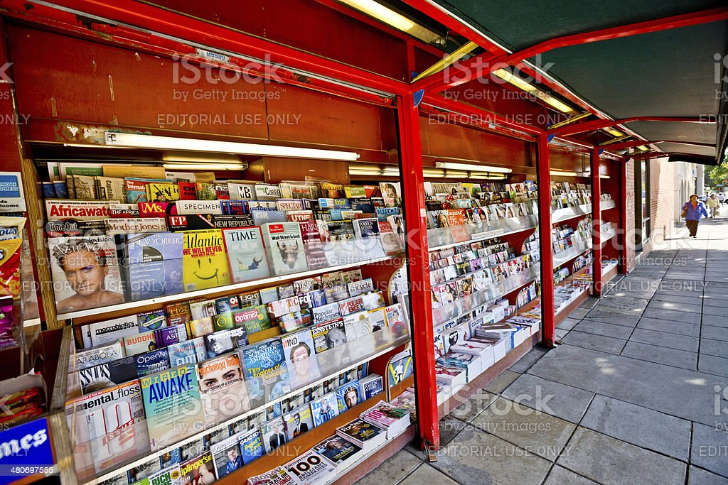 Newsstand in Westwood Village, Los Angeles, USA stock photo