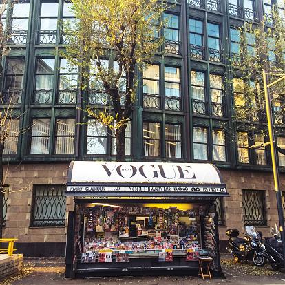 Milan, Italy  - December 22, 2014: Newsstand on Milan street. Nobody