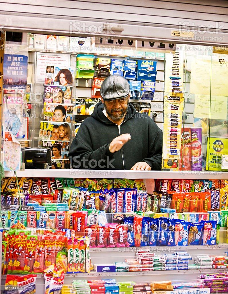 Newsstand on New York Street stock photo