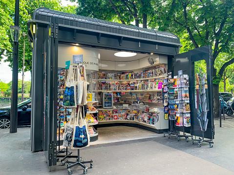 Newsstand on Paris street, France