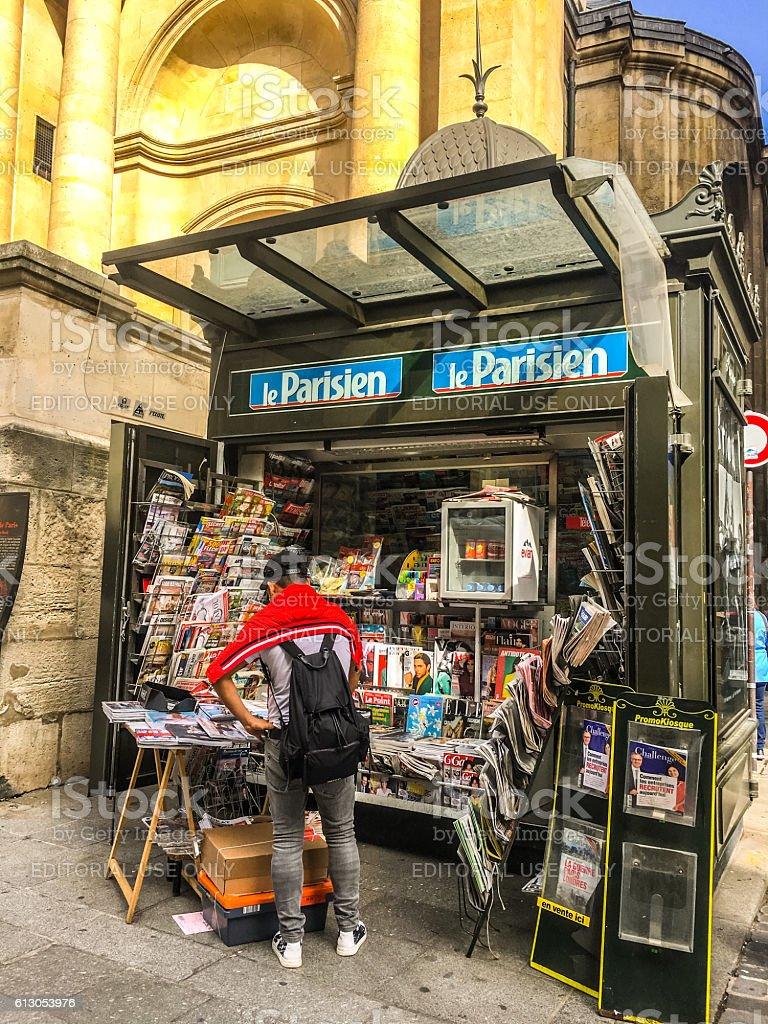 Newsstand on Paris street, France stock photo