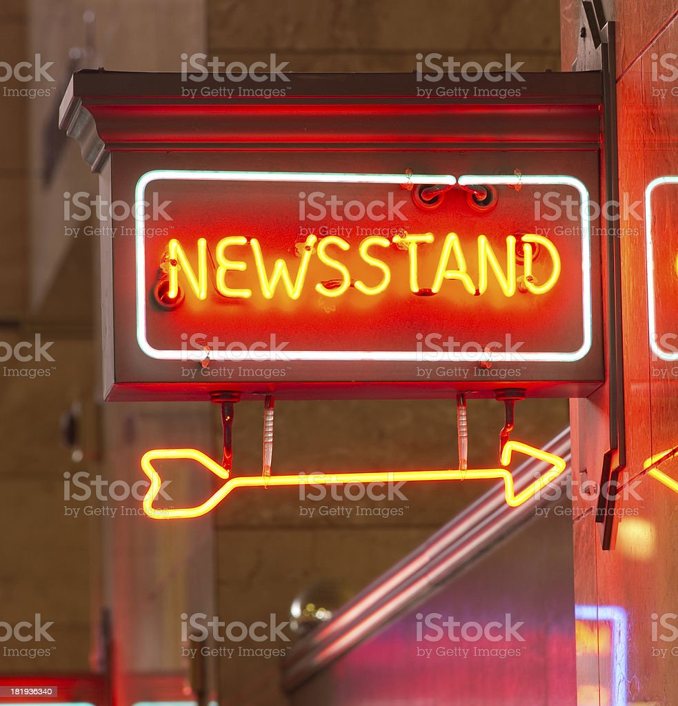 Newsstand Red Neon Sign Indoor Signage Arrow Pointing News stock photo
