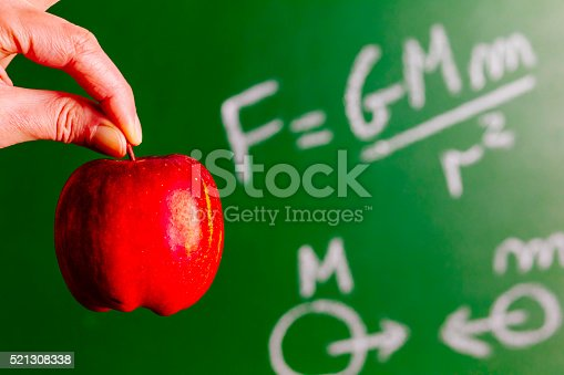 Newtons Law of Gravitation on a greenboard and illustrated using an apple. AdobeRGB colorspace.