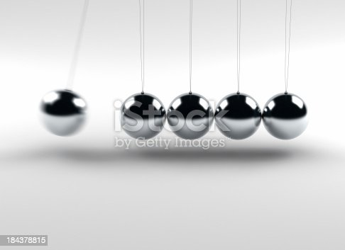 Newton balls (Isaac Newton's Cradle) with one ball in motion.