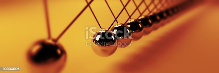 921145928 istock photo Newton cradle, cause and effect concept, golden infinity Newton's cradle (3d illustration banner) 909000908