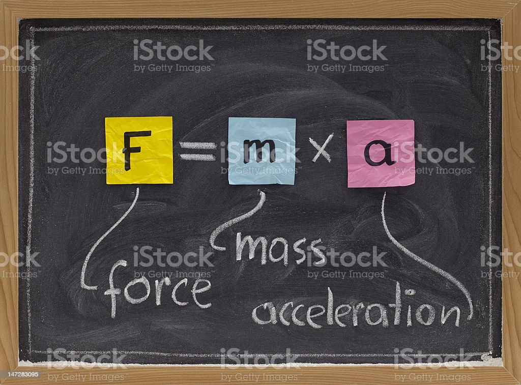 Newton second law on blackboard stock photo
