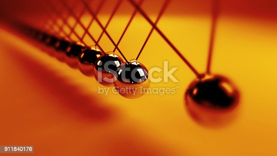 921145928 istock photo Newton's cradle, action and reaction concept, metal balls in motion (3d illustration background) 911840176