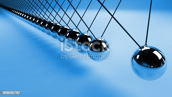 921145928 istock photo Newton's cradle, action and reaction concept, metal balls in motion (blue 3d render background) 938060792