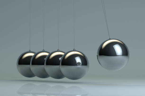 newton's cradle, balancing balls - perpetual motion stock photos and pictures