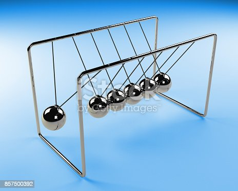 921145928 istock photo Newton's cradle in motion, cradle surrounded by blue light, 3d render 857500392
