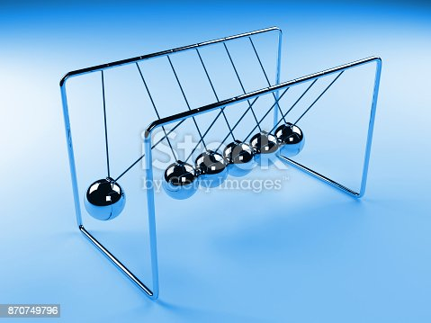 921145928 istock photo Newton's cradle in motion, silver cradle surrounded by blue light, 3D illustration 870749796