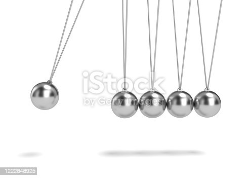 newtons, silver, ball, 3d rendering, white background
