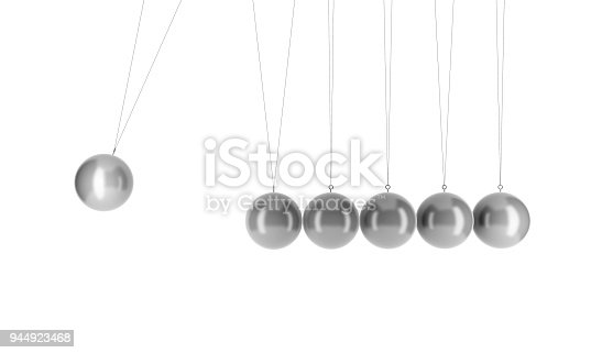 857499226 istock photo Newton's cradle physics in business concept. Pendulum isolated on white. 3d illustration 944923468