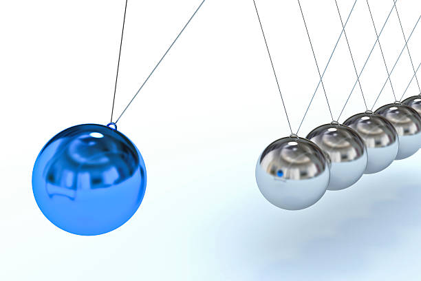 newton's cradle with blue sphere, individuality concept (xxxl) - perpetual motion stock photos and pictures