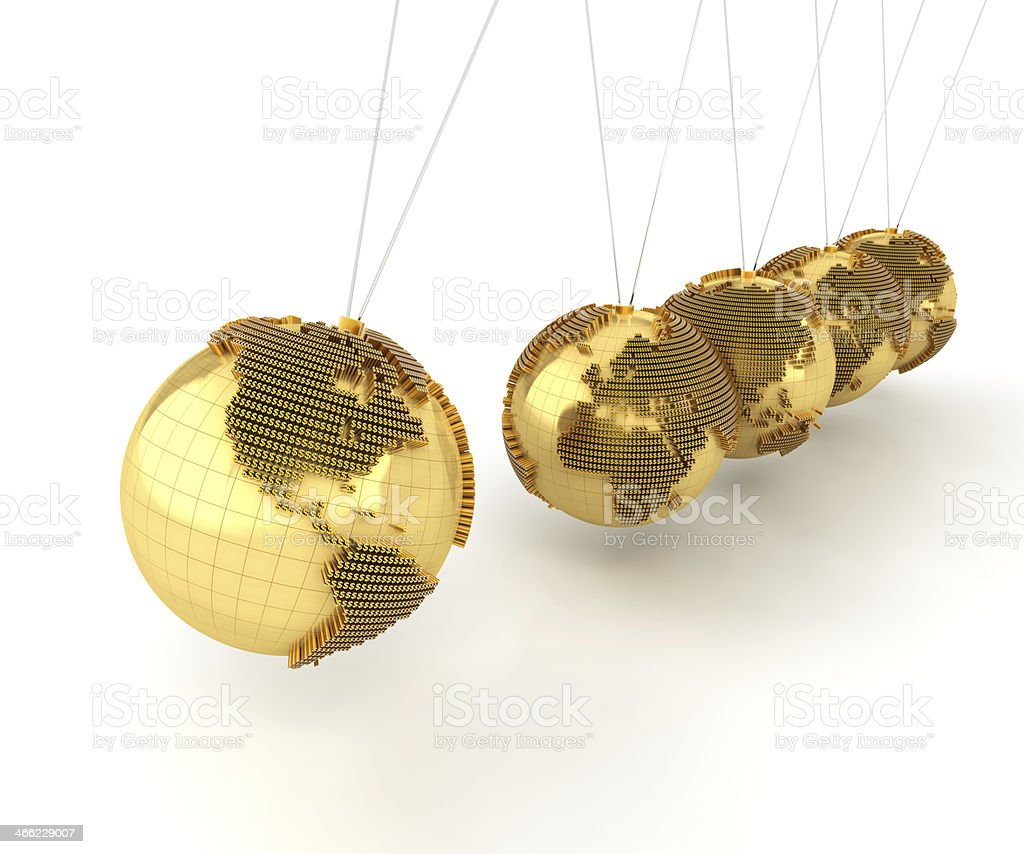 Newton's cradle with globes formed by dollar signs stock photo