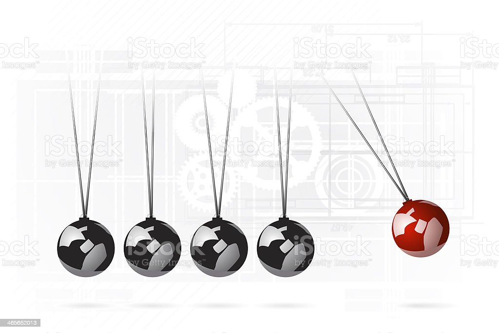 Newtons Cradle with globes replacing metal balls stock photo