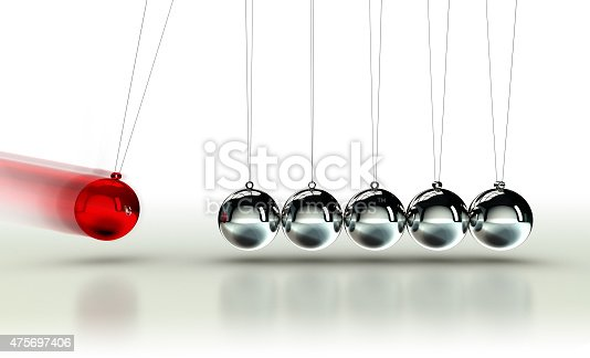 Newton's Cradle with red ball moving fast on white background