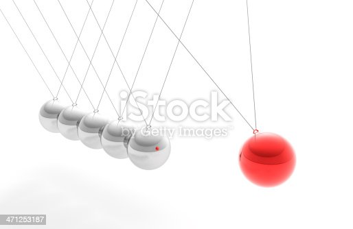 High resolution render of Newton's Cradle, with a Red sphere, trying to interpret motion  and individuality and