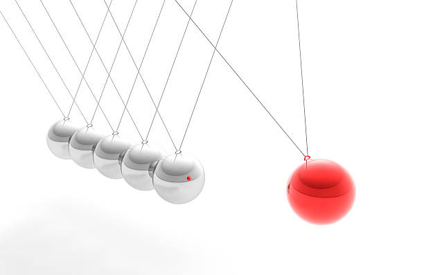 "Newton's Cradle with Red Sphere, Individuality Concept (XXXL) High resolution render of Newton's Cradle, with a Red sphere, trying to interpret motion  and individuality and ""standing out from the crowd"" concept. impact stock pictures, royalty-free photos & images"