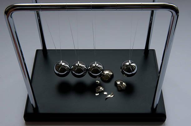 Newton's pendulum crash stock photo