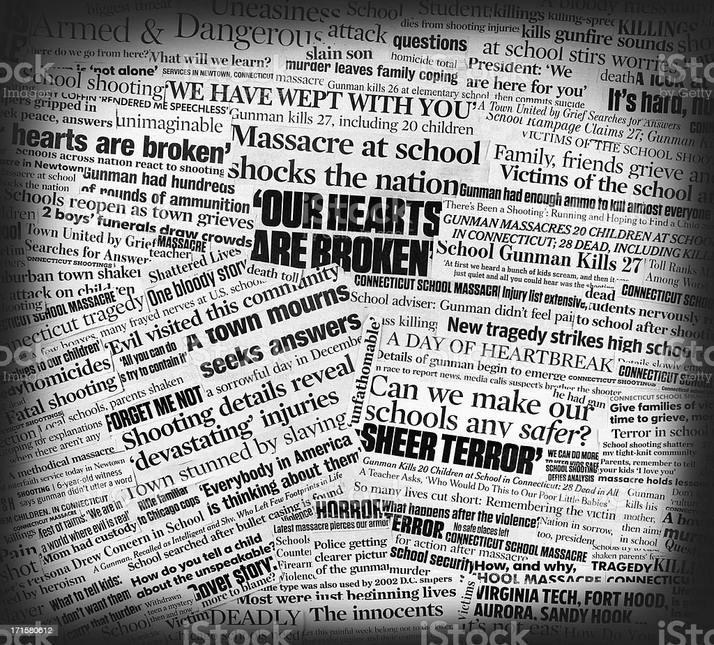 Newtown school massacre newspaper collage stock photo