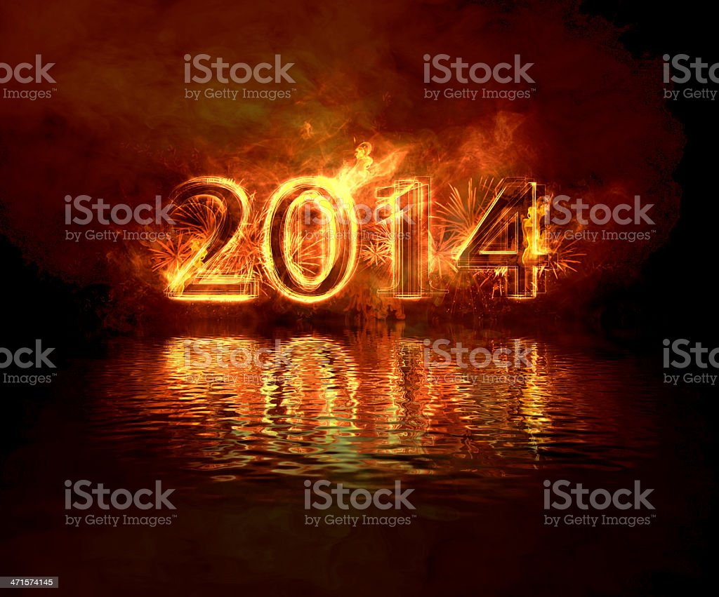 Newyear 2014 fire royalty-free stock photo