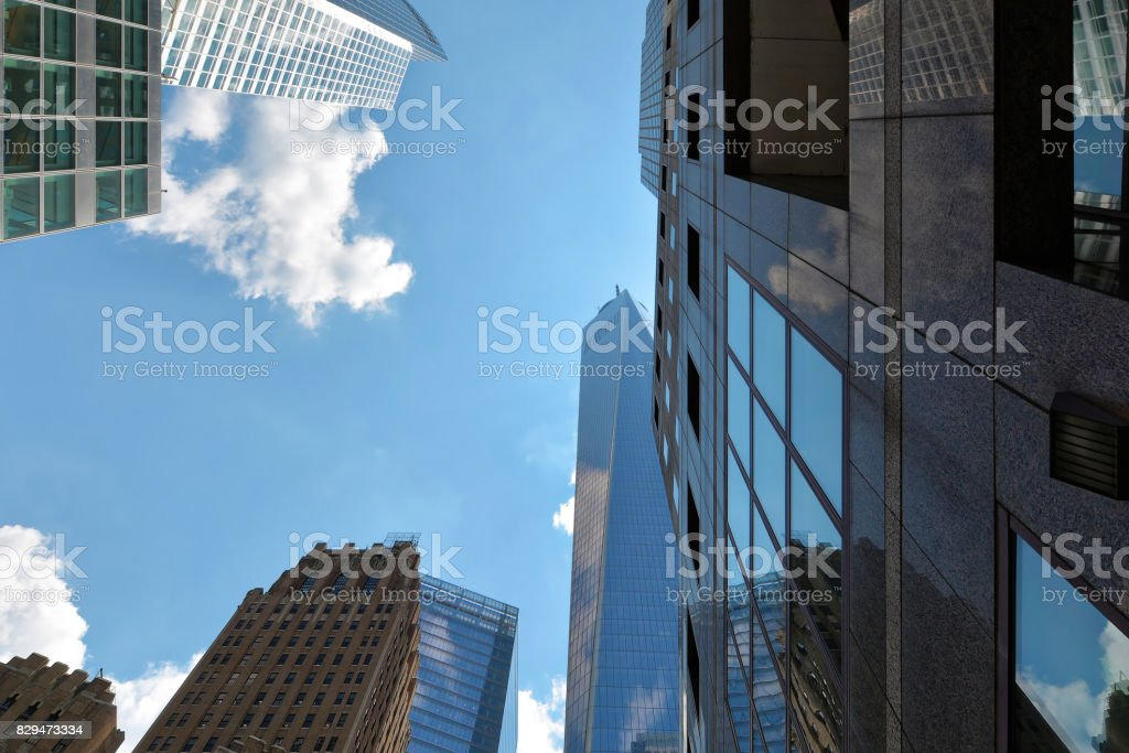 New-York buildings view from street level stock photo