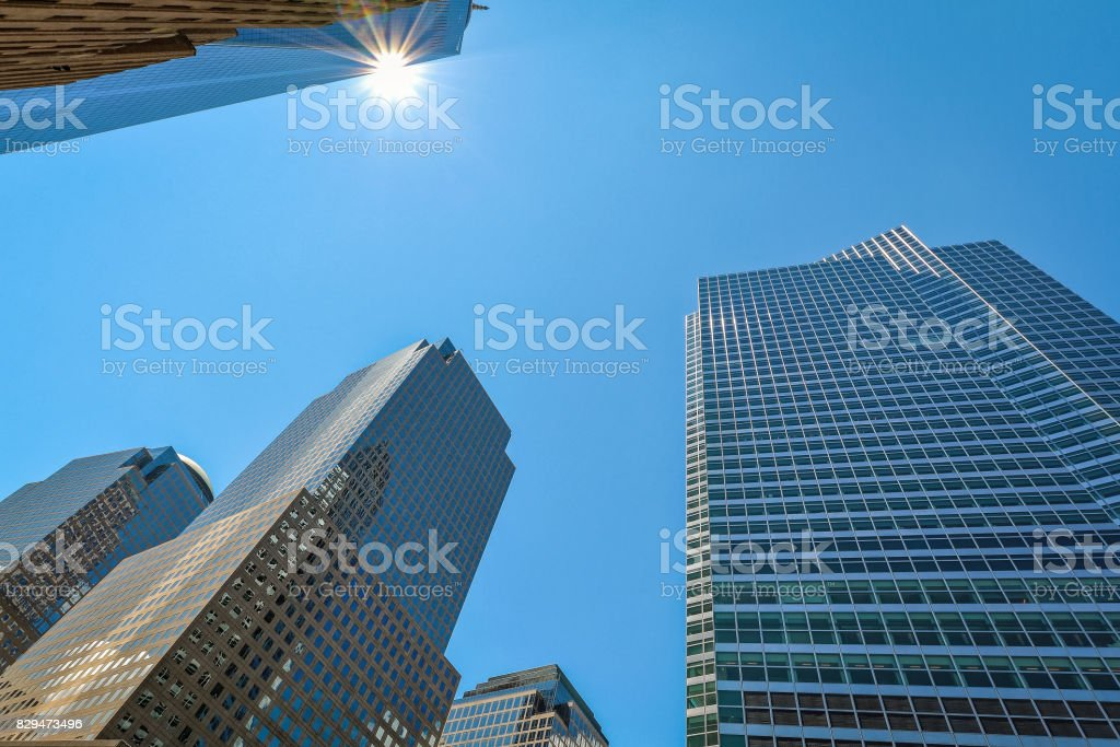 New-York buildings view from street level sun and blue sky stock photo