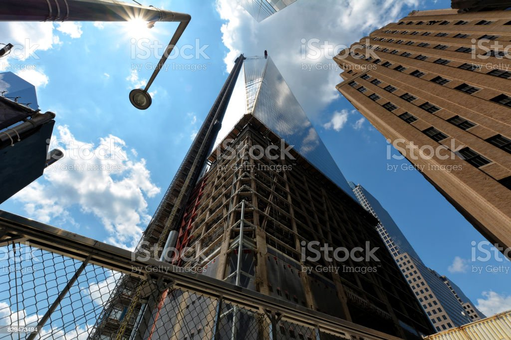 New-York buildings view from street level  with Freedom Tower in construction stock photo