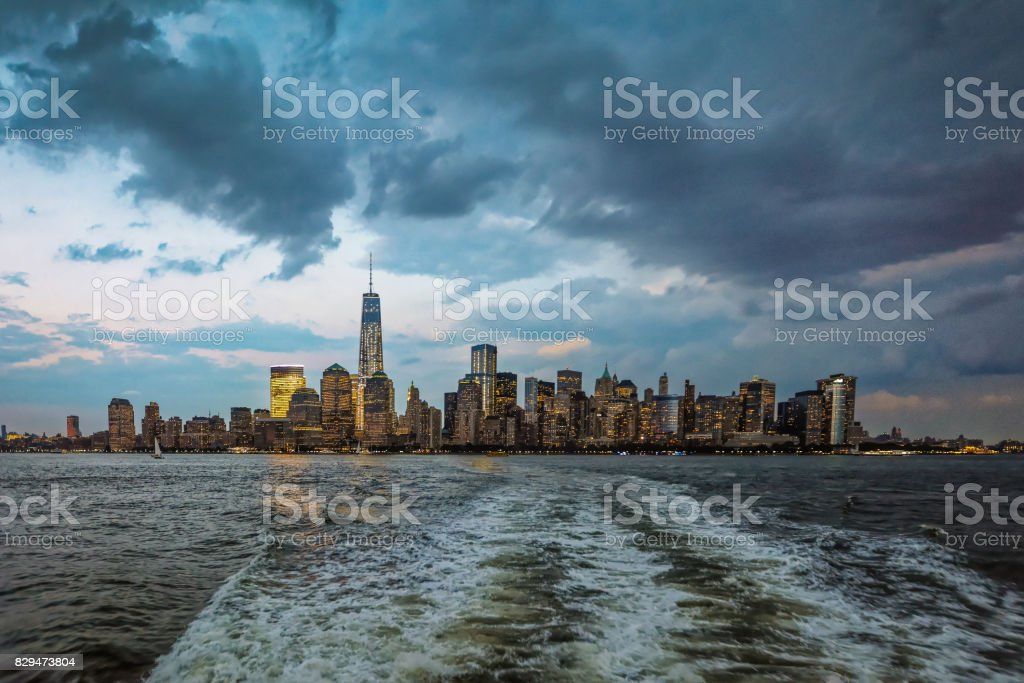 New-York midtown view over Hudson River after sunset stock photo