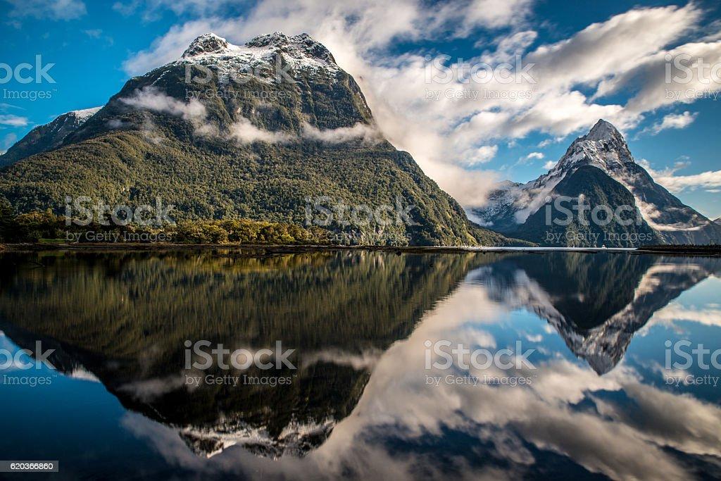 New-Zealand mountain Milford Sound during winter zbiór zdjęć royalty-free