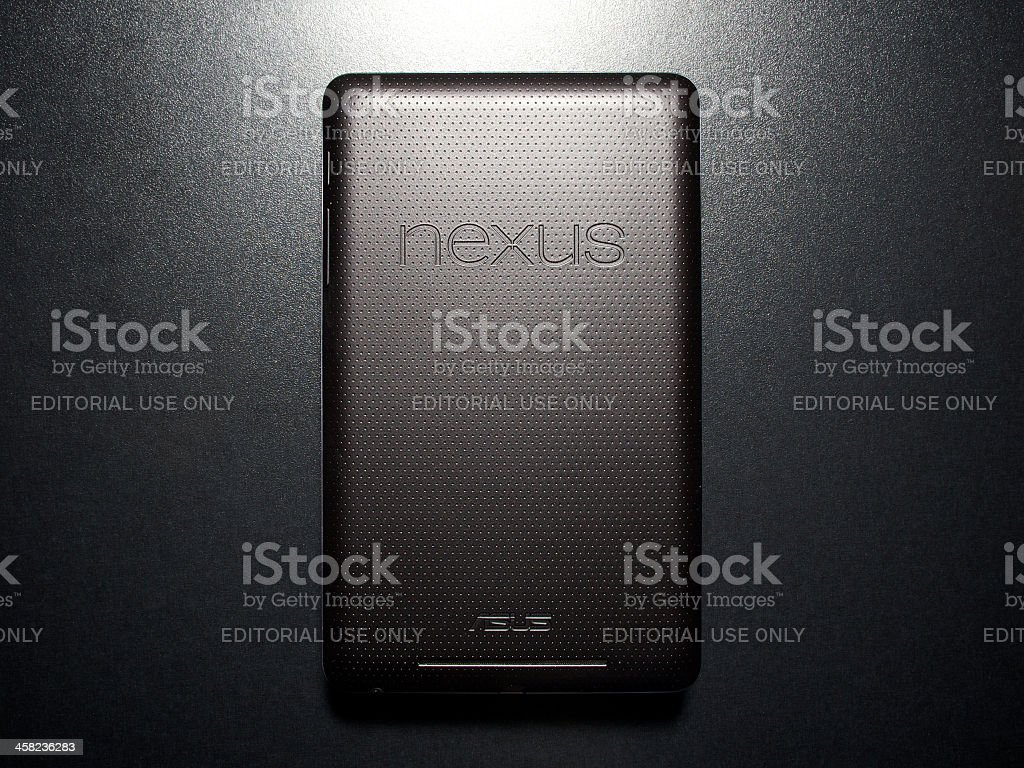 Nexus 7 tablet with latest Android OS Jelly Bean 4.2 stock photo