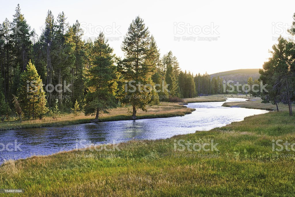 Nez Perce Creek in Yellowstone National Park at sunset stock photo