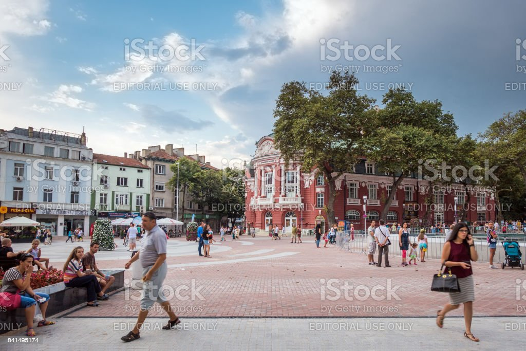 Nezavisimost Square is a beautiful pedestrian area in the historical center of Varna, Bulgaria stock photo