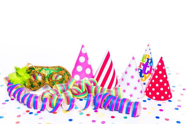 f nf partyh te mit partymaske - fasnacht stock-fotos und bilder