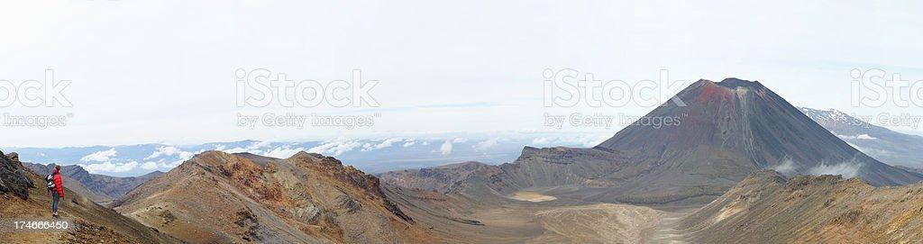Ngauruhoe Volcano and Mount Ruapehu stock photo