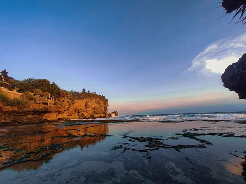 Ngobaran beach in Indonesia is a beautiful beach, it has island with beautiful artistic and clean places